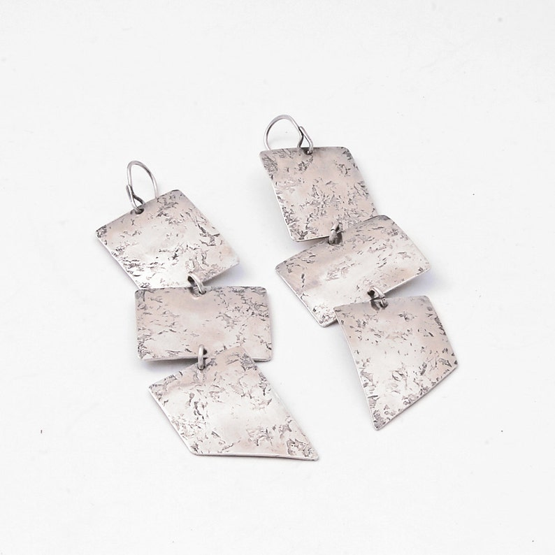 Southwest Distressed Minimalist Rectangle Geometric Design Emissary Earrings Three Tiered Textured Sterling Silver