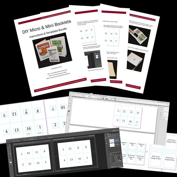 diy micro and mini booklets templates indesign photoshop etsy