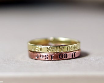 Copper stackable name rings - Personalized message rings set of two - Stacking name copper rings - Gift for her