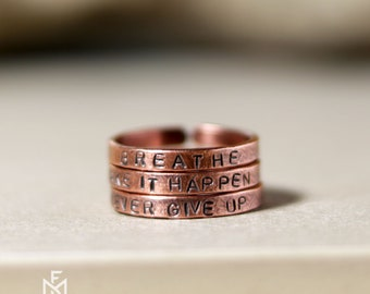 Copper stack message ring set of three - Personalized stackable copper rings - Stacking rings - Gift for her