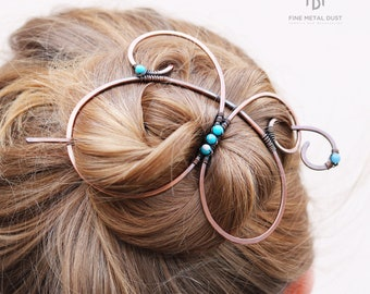 Boho copper hair barrette with stick for thick hair - Womens gift - Hair ornaments and jewelry - Gift for wife - Rustic copper hair piece