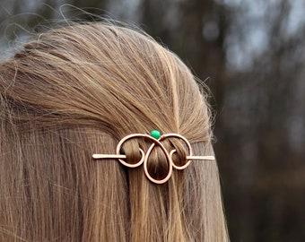Spiral copper hair clip with genuine gemstone - Metal hair holder - Shawl pin - Womans Gift for her - Handmade hair barrette for thin hair