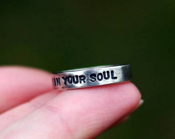 Personalized silver ring for men with your message - Artisan sterling silver 925 womens ring with a personal phrase - Gift for men or womens