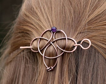 Celtic knot hair jewelry with genuine gemstone - Copper hair clips or barrettes - Shawl pins - Womens gift for her - Barrette with amethyst