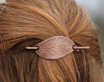 Birch tree leaf hair barrette for normal hair half updo - Gift for women - Handmade leaves hair pin in copper