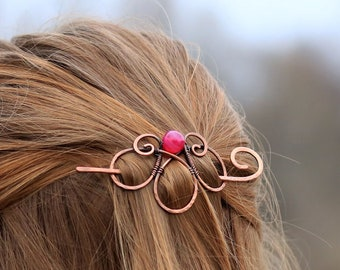 Celtic spiral hair barrette in copper with pink agate - Accessories with genuine gemstone for women gift for her - Rustic shawl sweater pin