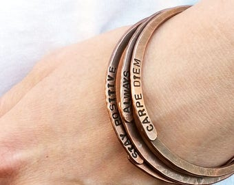 Hand stamped bracelet - Gift for him - Personalized quote bracelet - Gift idea - One lucky mama - Stamped jewelry - Gift for her