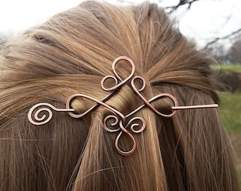Celtic knot copper hair barrette - Rustic sweater shawl pins - Metal hair accessory for girl - Vikings hair slide jewelry - Gift for her