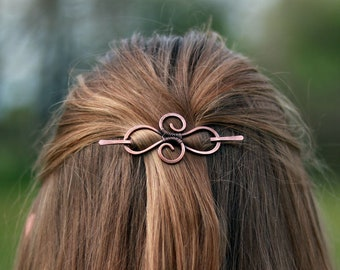 Celtic infinity copper hair barrette - Womens gift - Infinity loops shawl pin - Celtic knot long hair pin - Thin hair barrette Sweater clip