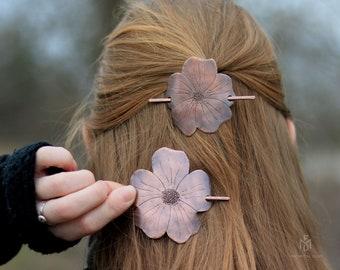 Sakura blossom hair pin for normal to thick hair - Gift for women - Handmade flower hair barrette in copper