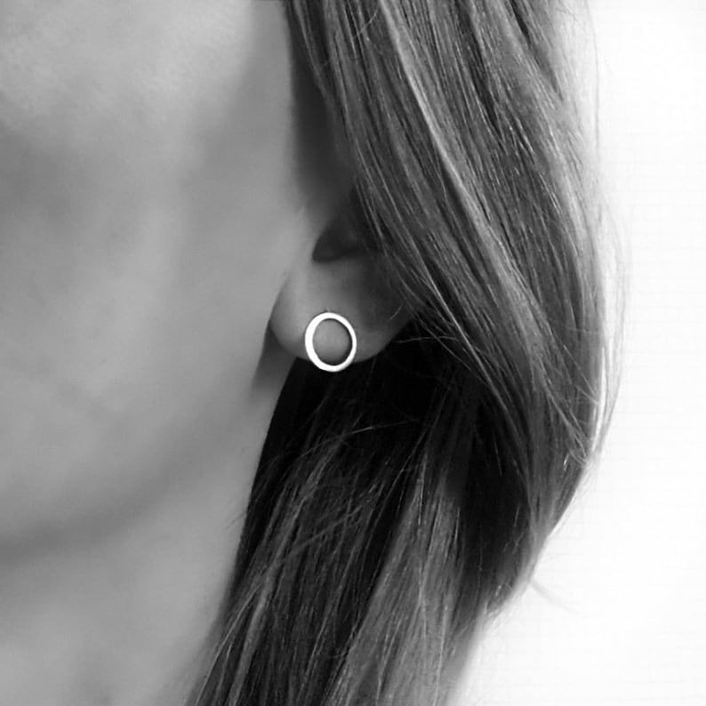 1d4be6c9c Minimal circle earrings silver 10mm diameter Circle stud   Etsy