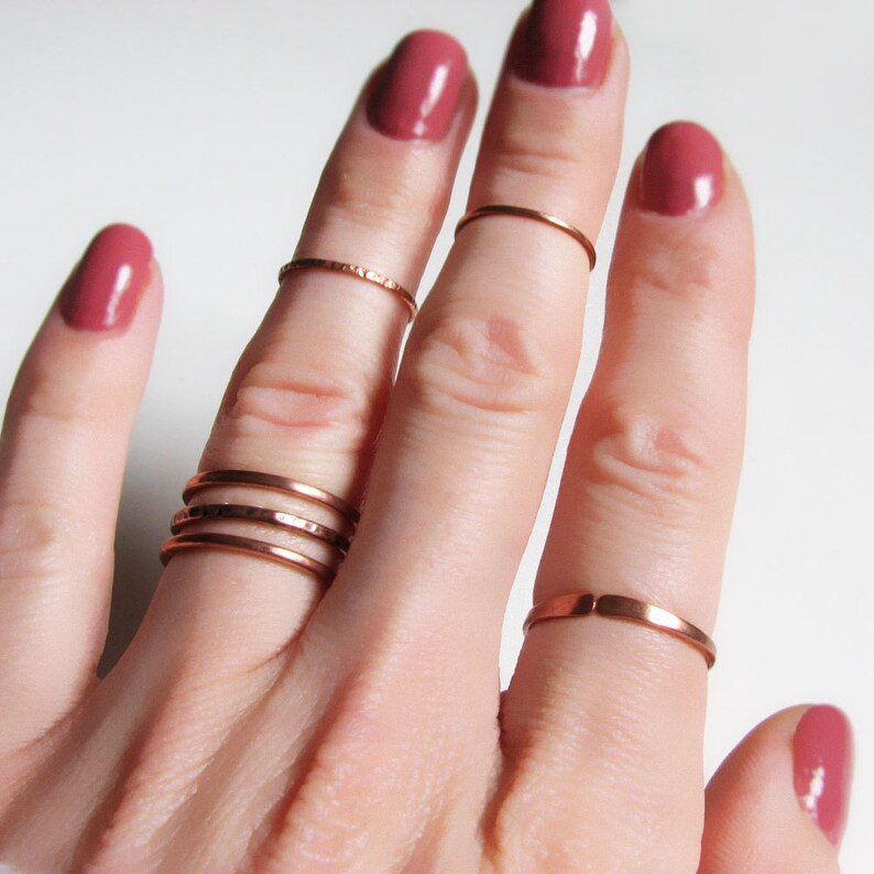 6 thin copper rings set of six Knuckle rings Minimalist rings Midi rings Copper boho rings Simple Stacking rings Pinky Womens gift For her