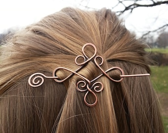 Celtic copper hair barrette - Rustic shawl pins - Gift for her - Celtic knot hair accessories for girls