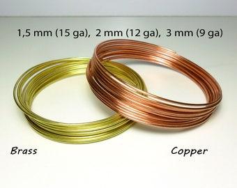 Soft round copper or brass wire - 1.5 mm / 15 gauge , 2 mm / 12 gauge , 2,5 mm / 10 gauge , 3 mm / 9 gauge - Uncoated & unplated craft wire