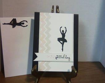 Ballerina card, ballerina birthday card, birthday card, pink card