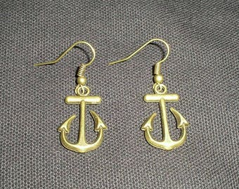 Handmade Antique Bronze Anchor Earrings