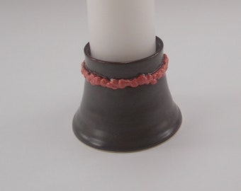 Gray Unity/Pillar Candle Holder with Pink Rose Detail