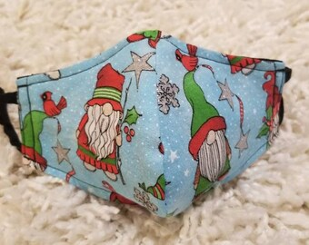 Kids cloth mask with Holiday Gnome pattern