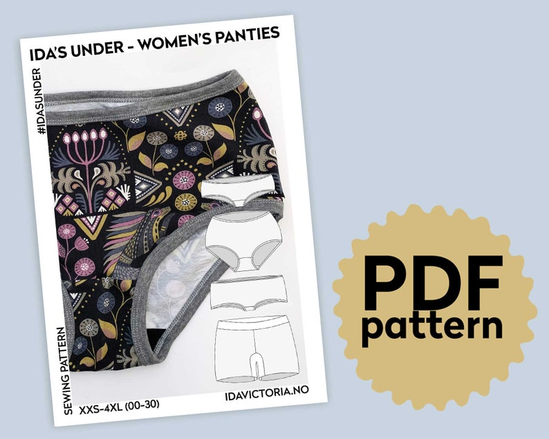 Ida/'s Under underbelly hipster boxers High rise XXS-4XL PDF Sewing Pattern Women/'s panties