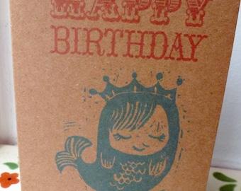 Sleepy Mermaid Birthday Card Recycled