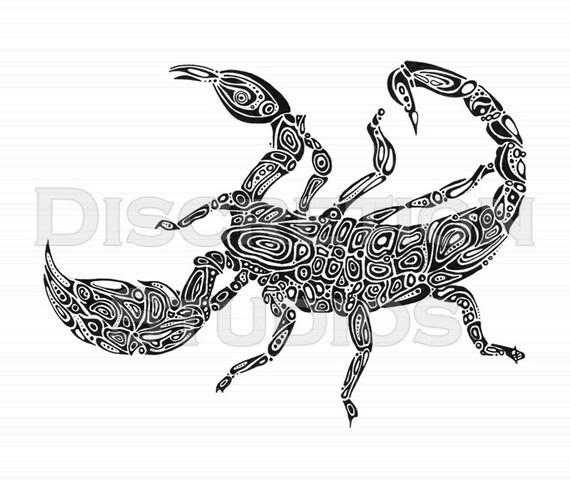 Giclée Druck Eine Reich Verzierte Hand Gezeichneten Skorpion Etsy