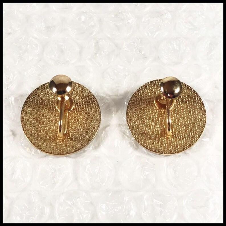 Vintage Pennsylvania Dutch Good Luck Hex Petal Rosette Goldtone Metal Screw Back Earrings Free Shipping