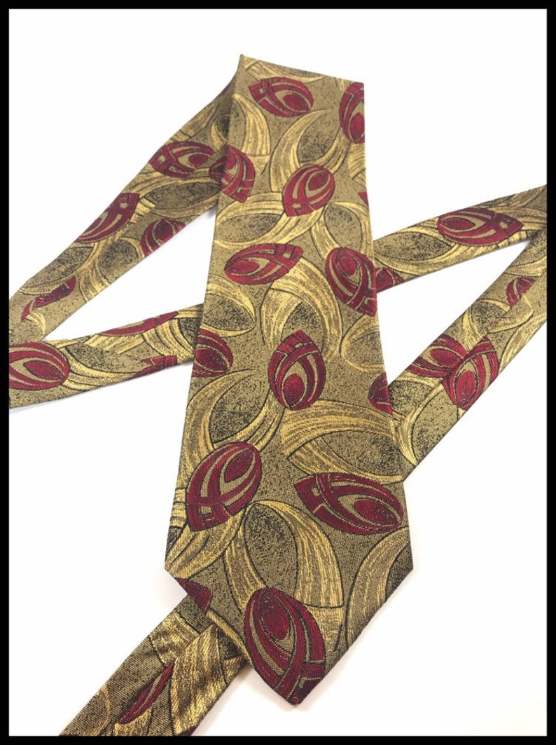 75f2058a1f43 Bugatti Italian Silk Red And Gold Peacock Eyes Patterned Tie   Etsy