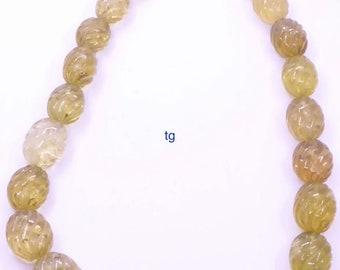 Natural Lemon Quartz Hand Carved Gemstone,Lemon Quartz Carving Heart Shape Gemstone Beads,Jewelry Making Gemstone,Size 15x15x10mm,8