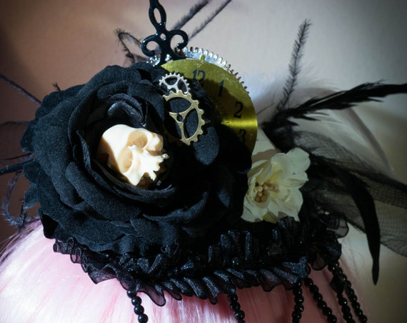 Steampunk Skull Mini Top Hat hair fascinator Gothic Day of the Dead clock pieces