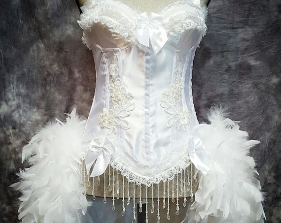 White wedding dress feather bustle angel costume Victorian beaded bridal lace corset