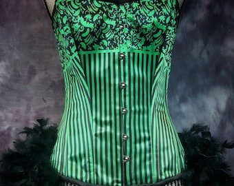 STRIPED GREEN Vintage Style Wasteland Steampunk corset Burlesque Costume Saloon Girl Dress with feather skirt