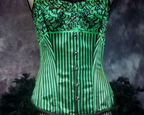 STRIPED GREEN Steampunk corset Burlesque Costume Saloon Girl Dress with feather bustle - LARGE