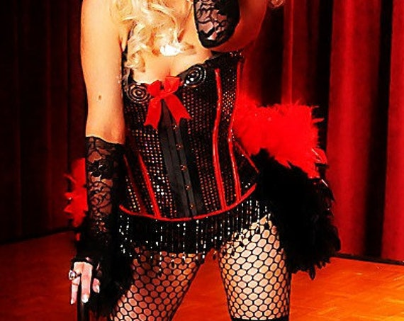 DIVA Showgirl Costume Burlesque dress red black ringmaster gothic corset