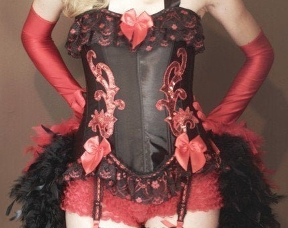 RED SONJA Feather Train Burlesque Circus Costume dress corset sexy Halloween 1920s S, M, L, XL
