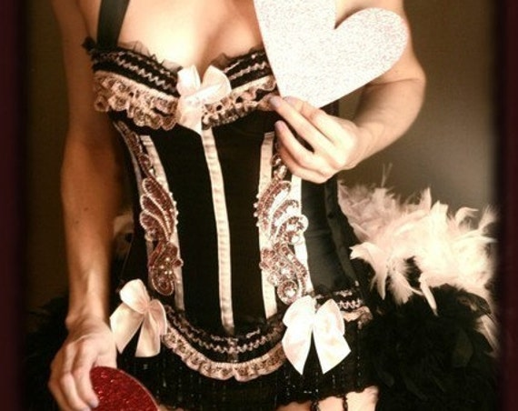 BARRYMORE Pink Burlesque Corset Edwardian dress Sexy Showgirl Parisian costume - EVERYTHING INCLUDED