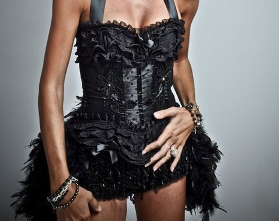 KALI Black Swan Corset Burlesque Costume Steampunk Dress Cosplay gypsy feathers