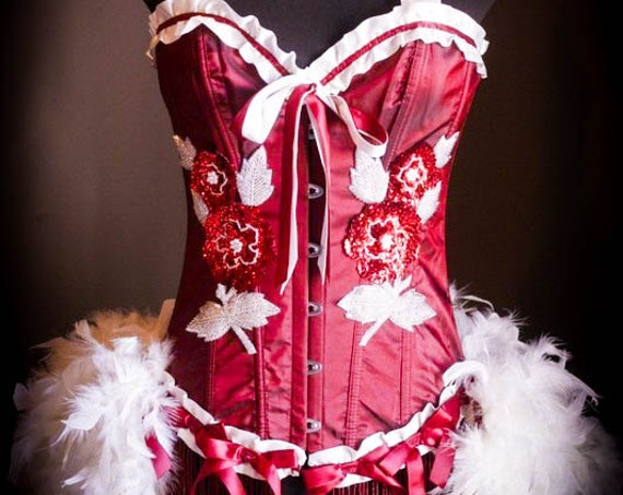 RED ROSE - White Valentine's Day Burlesque Corset Cosplay Costume dress  S, M, L, XL