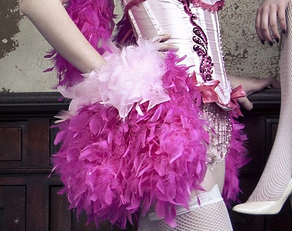 Detachable Burlesque Feather Bustle belt skirt for corset cosplay costume or gothic prom dress
