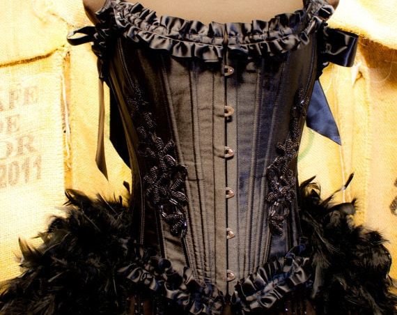 TWILIGHT Black Swan Steampunk Dress Gypsy Costume Corset EVERYTHING INCLUDED