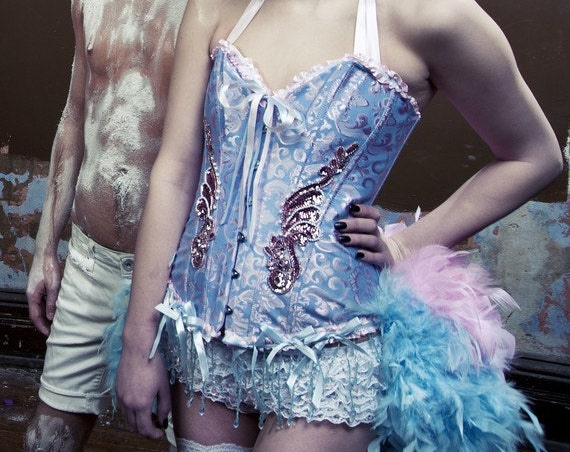 ALICE IN WONDERLAND Sexy Blue Pink Burlesque Costume Feather Train Plus Size 2XL