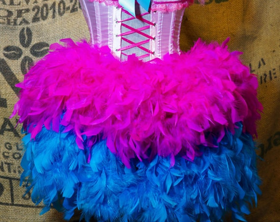 Detachable Burlesque Feather Bustle belt for corset costume or Steampunk dress