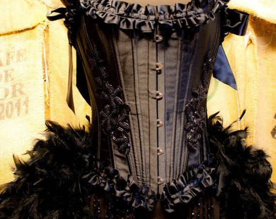 TWILIGHT Circus Burlesque Feather Costume Corset Black Swan Cosplay Steampunk prom dress