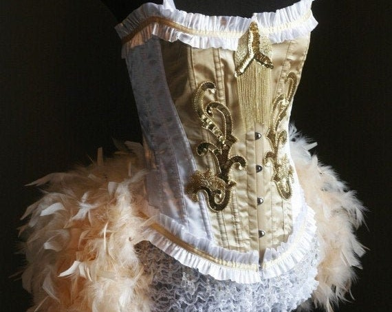OLYMPIAN Plus Size 2XL White Gold Burlesque Corset Costume feather prom dress