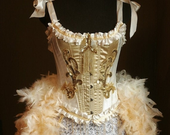 OLYMPIAN White Corset Gold Beaded Great Gatsby Burlesque Costume fringe dress w/ feather train - S,M,L,XL sizes