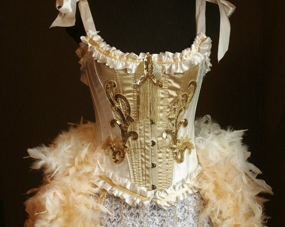 OLYMPIAN Gold Beaded Burlesque Costume Vintage Style Corset Las Vegas Feather Showgirl Dress