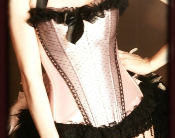 APHRODITE Burlesque Feather Costume Saloon Girl Can Can dress Pink Black Corset