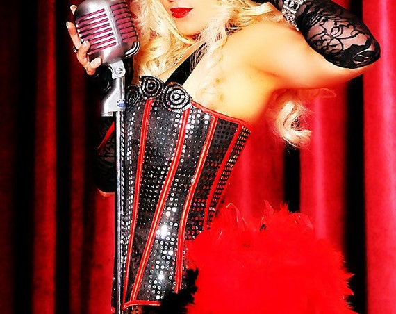 DIVA Red Black Ringmaster Costume Corset Saloon Can Can Circus feather dress XL