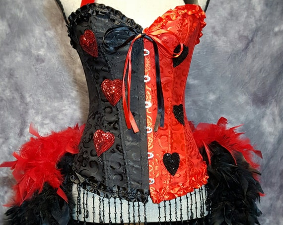 HARLEY QUINN Burlesque Cosplay Costume Harlequin Queen of hearts red & black feather dress