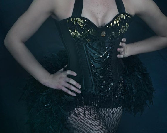 BLACK CANARY Burlesque Outfit Gold Corset Costume saloon girl steampunk dress