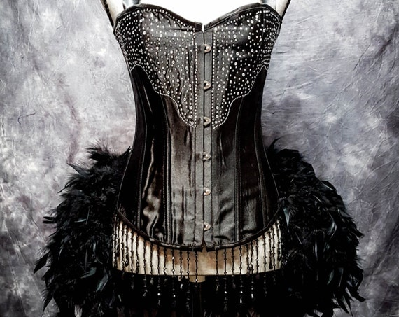 BLACK DIAMOND Steampunk Dress Feather Bustle Rhinestone Burlesque Costume Gothic Corset